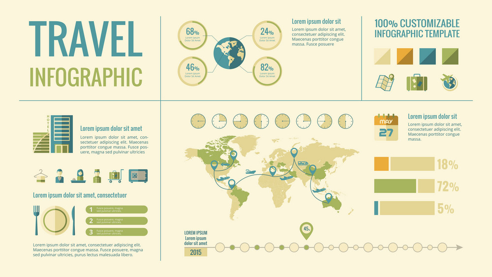 Travel Infographic Template. Vector Customizable Elements.