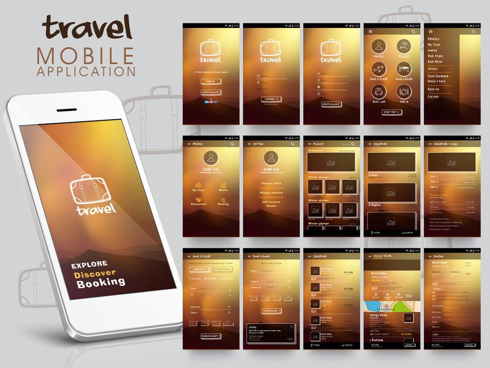 Travel Mobile Application User Interface layout with different creative screens for Smartphone.