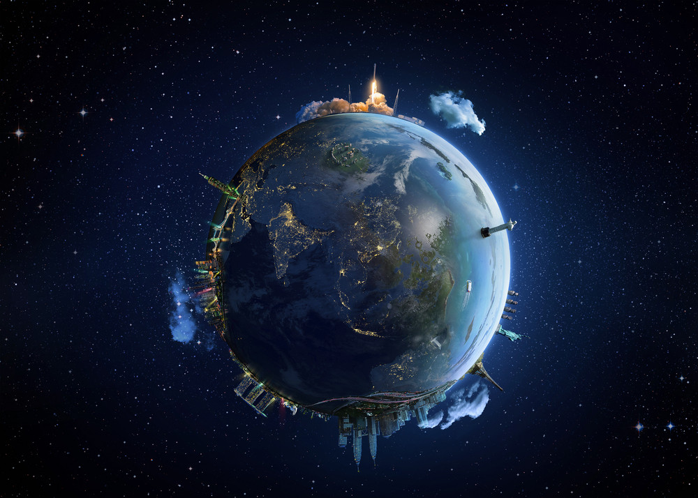 Travel our Earth planet. The world monument concept. Extremely detailed image including elements furnished by NASA.