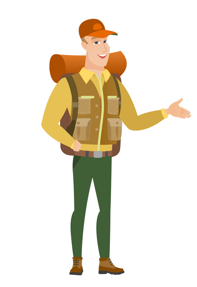 Traveler with arm out in a welcoming gesture. Full length of welcoming young caucasian traveler. Traveler doing a welcome gesture. Vector flat design illustration isolated on white background.