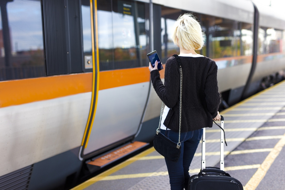 Traveling woman at a outdoor train station terminal