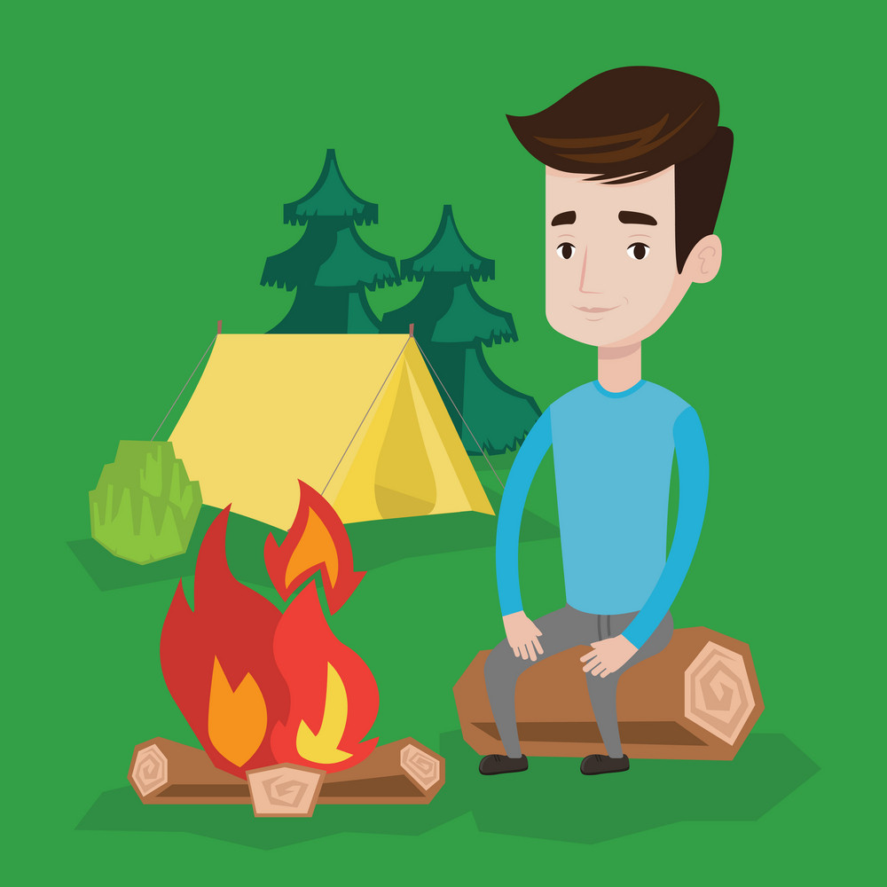 Travelling man sitting on a log near a fire on the background of camping site with tent. Young caucasian man sitting near a campfire at a campsite. Vector flat design illustration. Square layout.