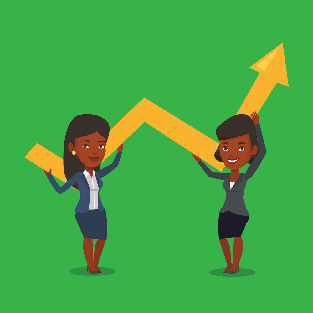 Two african-american smiling business women holding growth graph. Cheerful business team with growth graph. Concept of business growth and teamwork. Vector flat design illustration. Square layout.