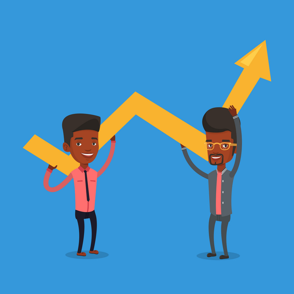 Two african-american smiling businessmen holding growth graph. Cheerful business team with growth graph. Concept of business growth and teamwork. Vector flat design illustration. Square layout.