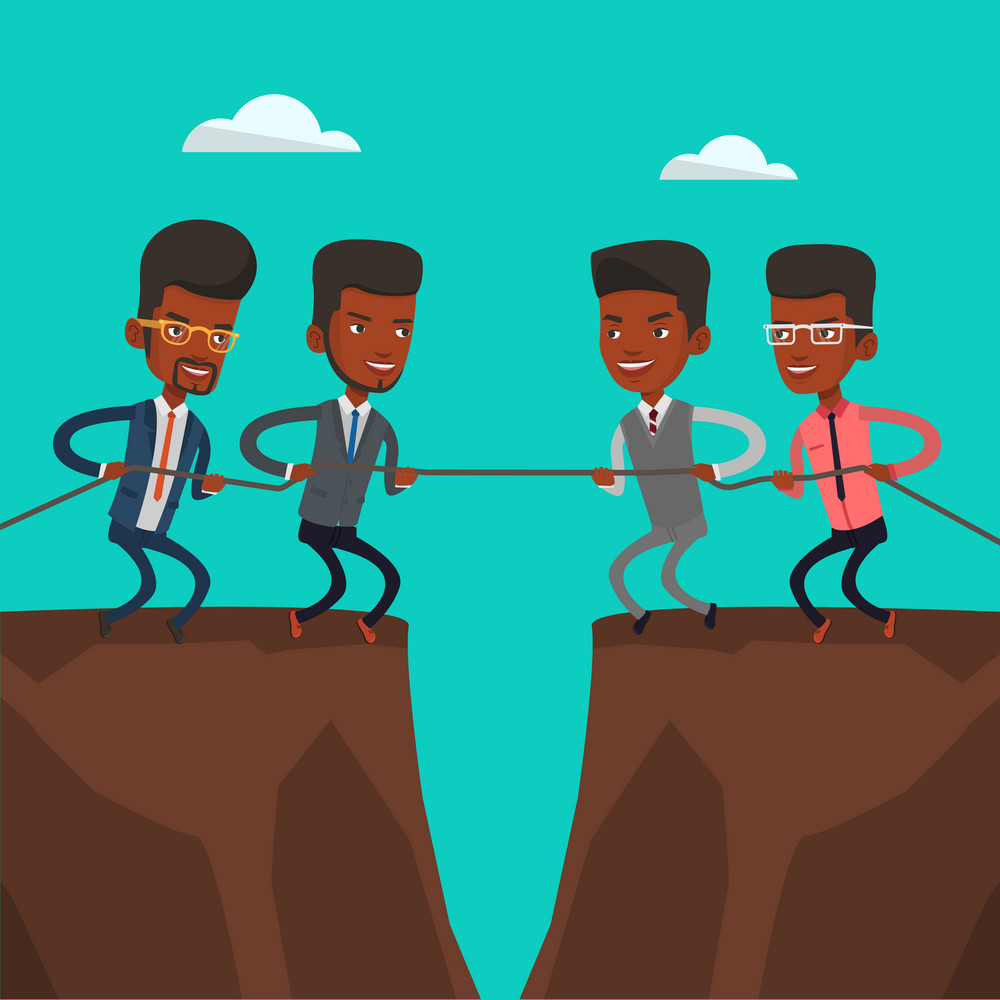 Two african business team pulling rope on cliff. Competition between two teams of business people. Concept of team work and competition in business. Vector flat design illustration. Square layout.