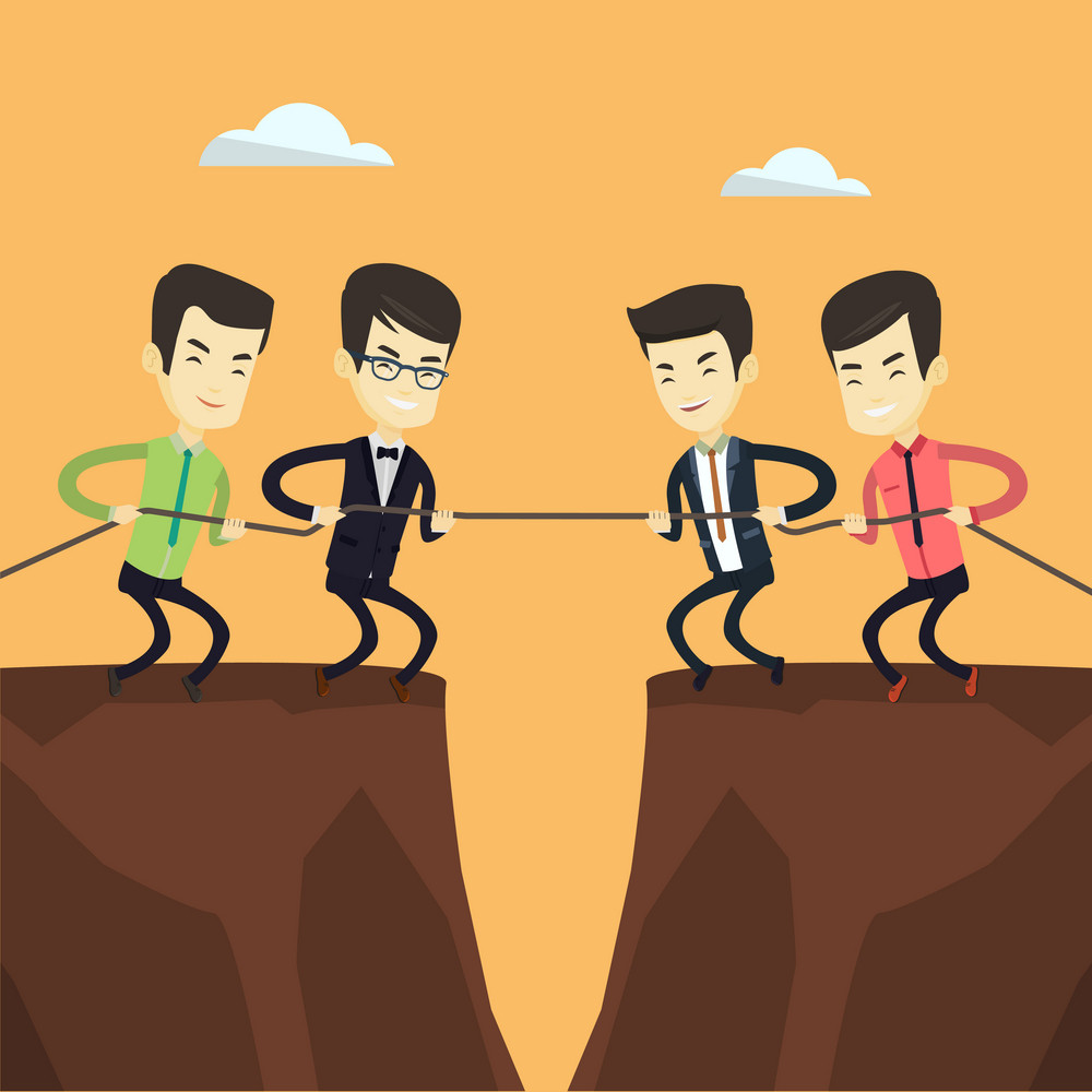 Two asian business team pulling rope on cliff. Competition between two teams of business people. Concept of team work and competition in business. Vector flat design illustration. Square layout.