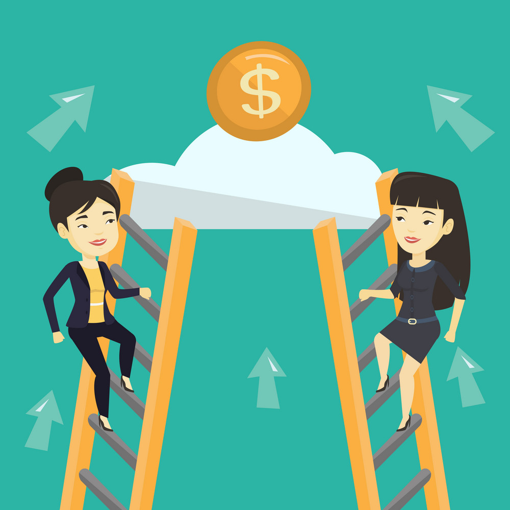 Two asian business women competing for the money. Two competitive business women climbing the ladder on a cloud. Concept of competition in business. Vector flat design illustration. Square layout.