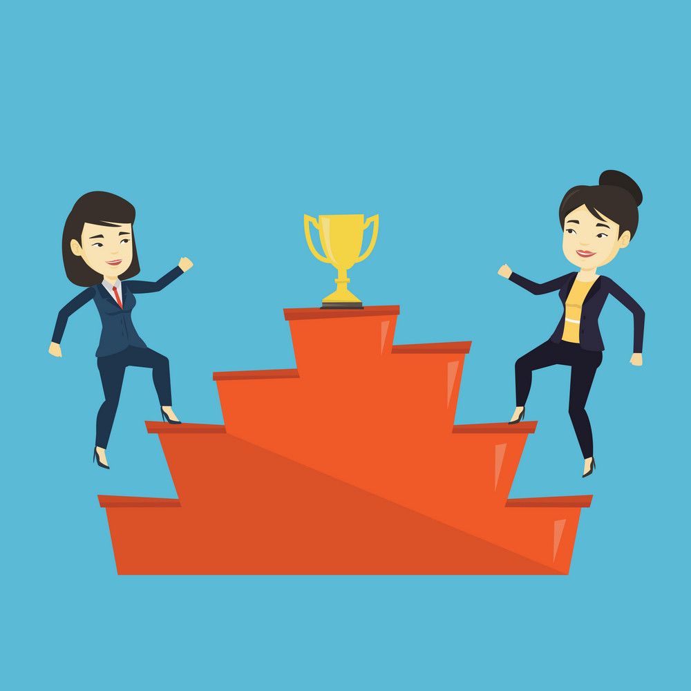 Two asian business women competing to get golden trophy. Two competitive business women running up for the golden trophy. Business competition concept. Vector flat design illustration. Square layout.