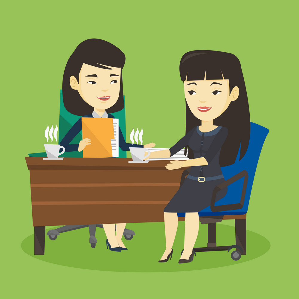 Two asian businesswomen during business meeting. Two young businesswomen talking on business meeting. Businesswomen drinking coffee on business meeting. Vector flat design illustration. Square layout.