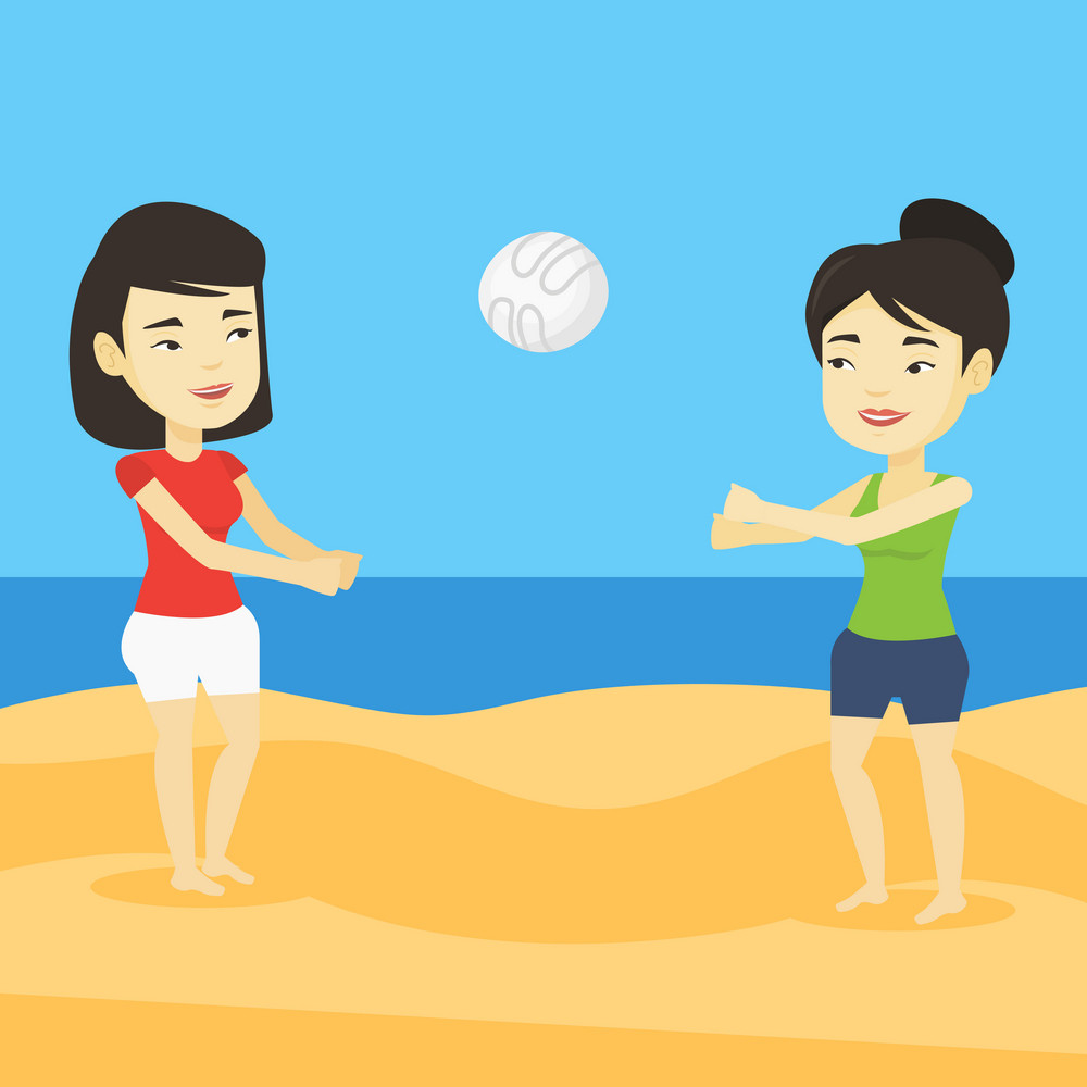 Two asian friends having fun while playing beach volleyball during summer holiday. Young sportswoman playing beach volleyball with her friend. Vector flat design illustration. Square layout.