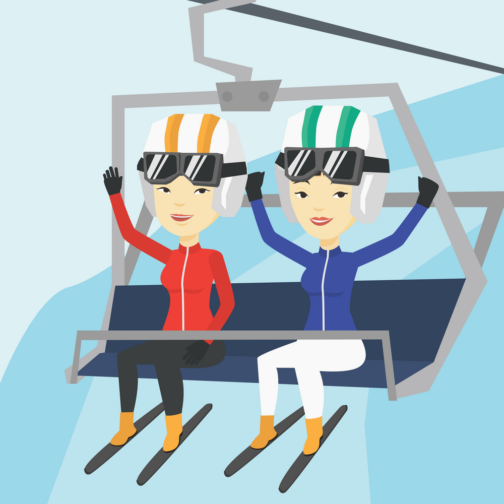 Two asian women sitting on ski elevator in winter mountains. Skiers using cableway at ski resort. Skiers on cableway in mountains at winter sport resort. Vector flat design illustration. Square layout