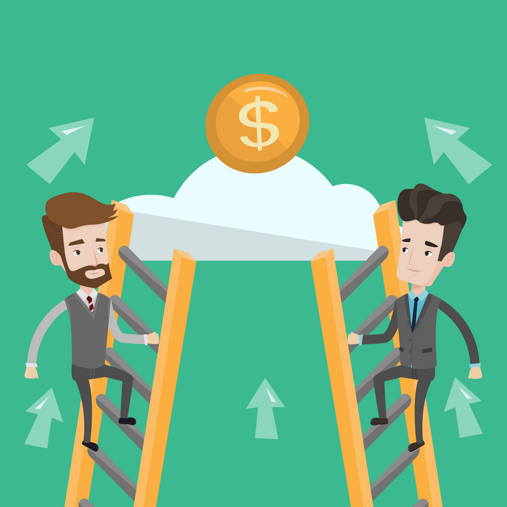 Two businessman climbing the ladder on the cloud to get golden coin. Businessmen climbing to success. Concept of motivation and competition in business. Vector flat design illustration. Square layout.