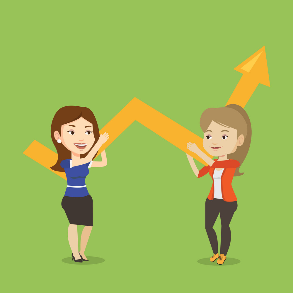 Two caucasain smiling business women holding growth graph. Cheerful business team with growth graph. Concept of business growth and teamwork. Vector flat design illustration. Square layout.