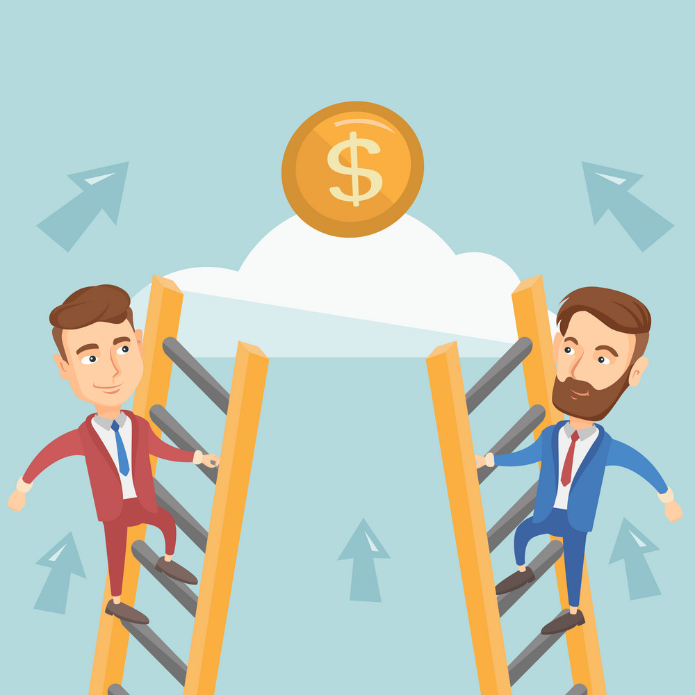 Two caucasian business men competing for the money. Two competitive business men climbing the ladder on a cloud. Concept of competition in business. Vector flat design illustration. Square layout.