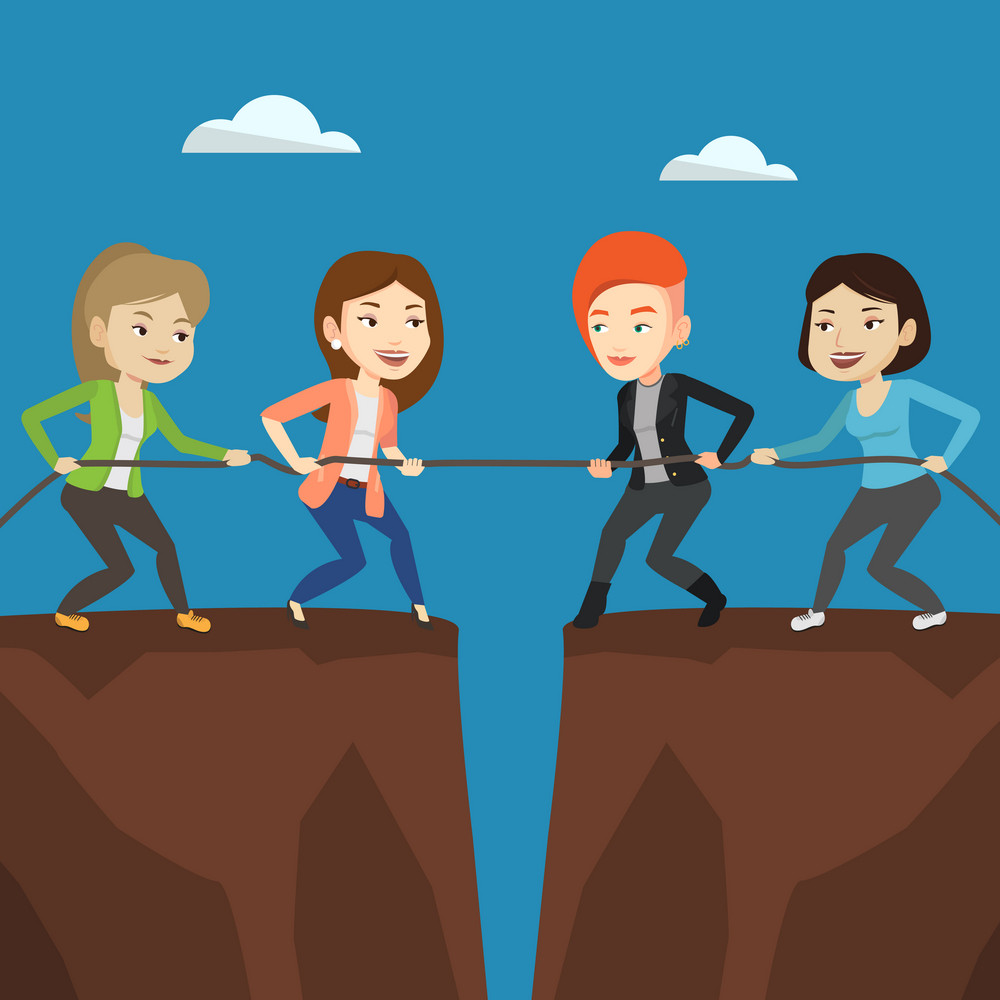 Two caucasian business team pulling rope on cliff. Competition between two teams of business people. Concept of team work and competition in business. Vector flat design illustration. Square layout.