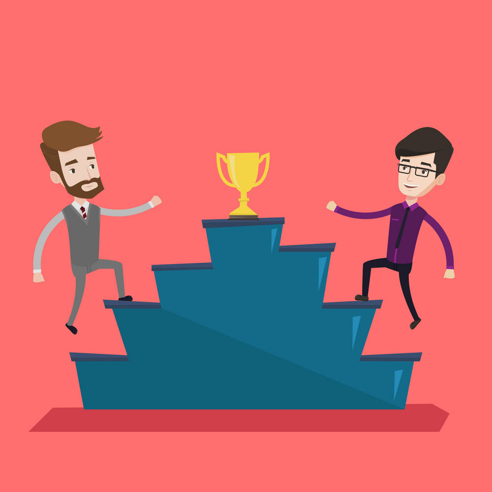 Two confident businessmen competing to get golden trophy. Two competitive businessmen running up for the winner cup. Business competition, award concept. Vector flat design illustration. Square layout
