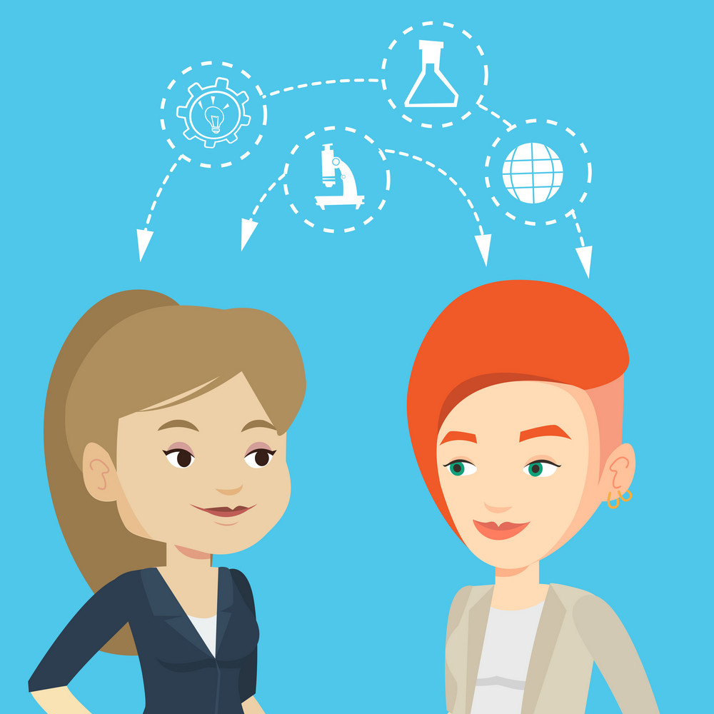 Two female caucasian students sharing with the ideas during brainstorming. Young happy students brainstorming. Concept of brainstorming in education. Vector flat design illustration. Square layout.