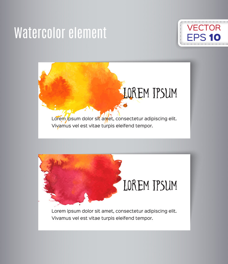 Two hand drawn watercolor cards. Vector illustration.