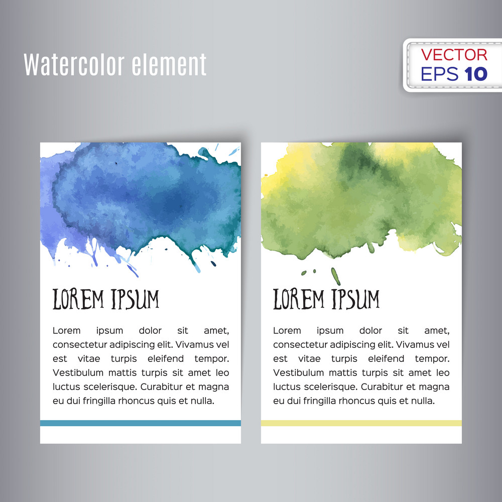 Two hand drawn watercolor cards.