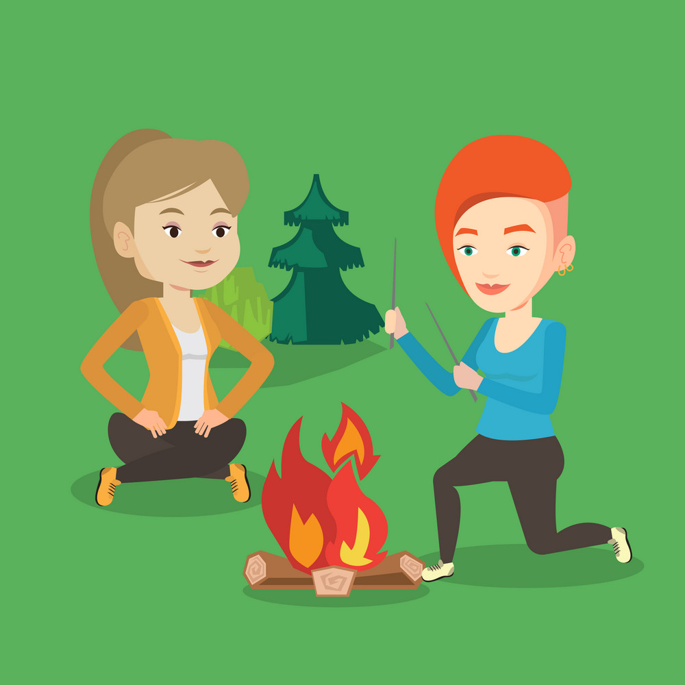 Two happy friends sitting around bonfire. Group of young friends having fun in camping. Tourists relaxing near campfire. Concept of travel and tourism. Vector flat design illustration. Square layout.
