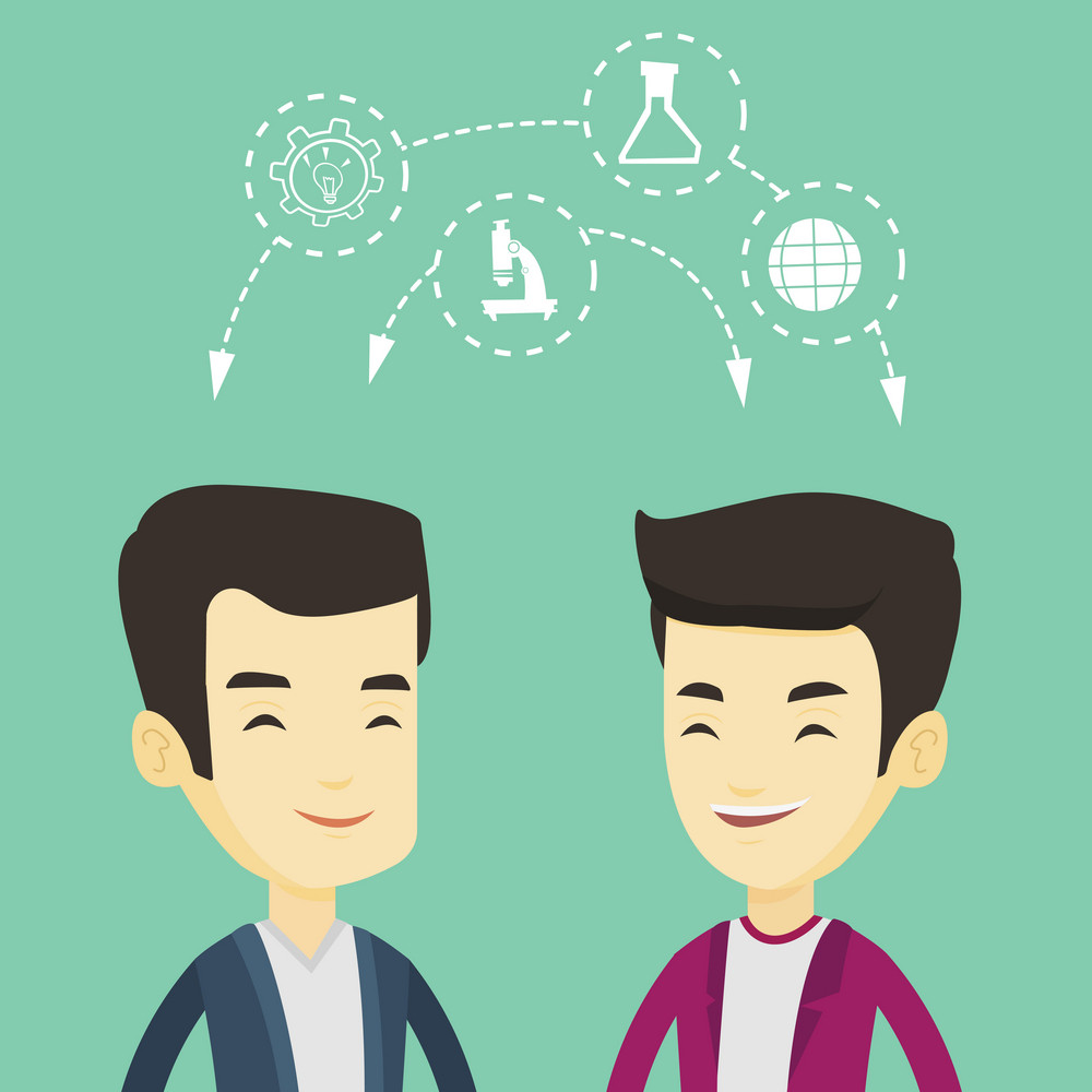 Two male asian students sharing with the ideas during brainstorming. Young happy students brainstorming. Concept of brainstorming in education. Vector flat design illustration. Square layout.