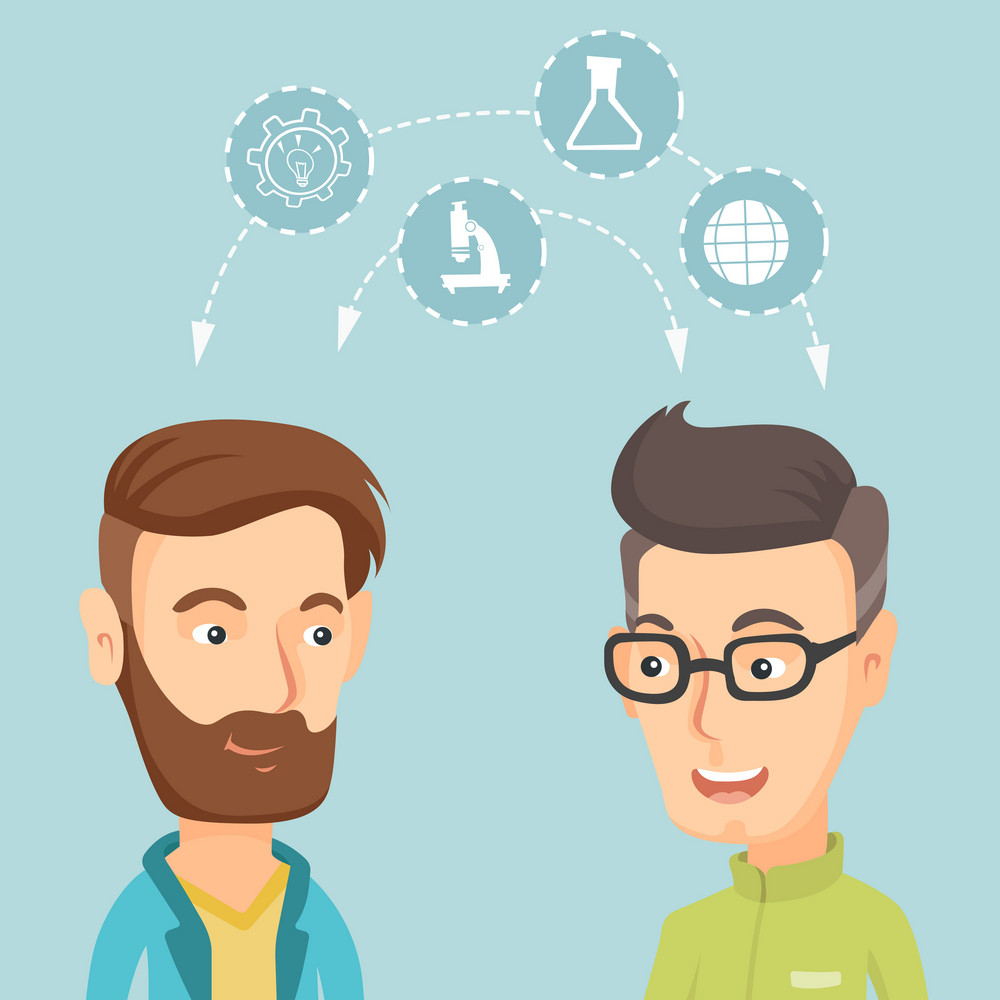 Two male caucasian students sharing with the ideas during brainstorming. Young happy students brainstorming. Concept of brainstorming in education. Vector flat design illustration. Square layout.