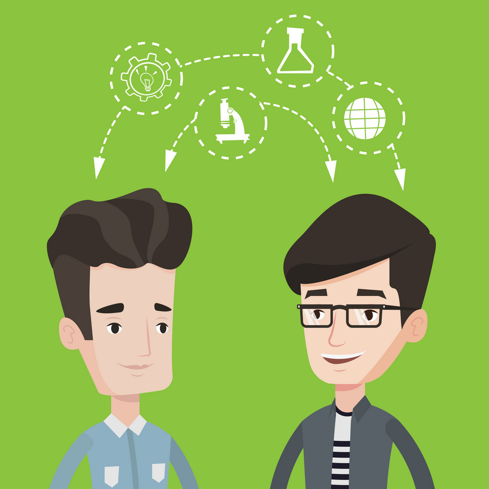 Two male students sharing with the ideas. Students studying together and arrows with school icons between them. Young happy students brainstorming. Flat design illustration. Square layout.