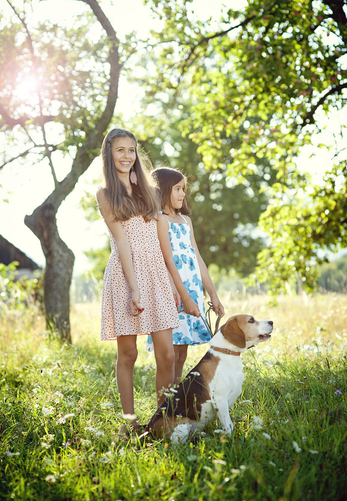 Two sisters playing with their beagle dog in green sunny park