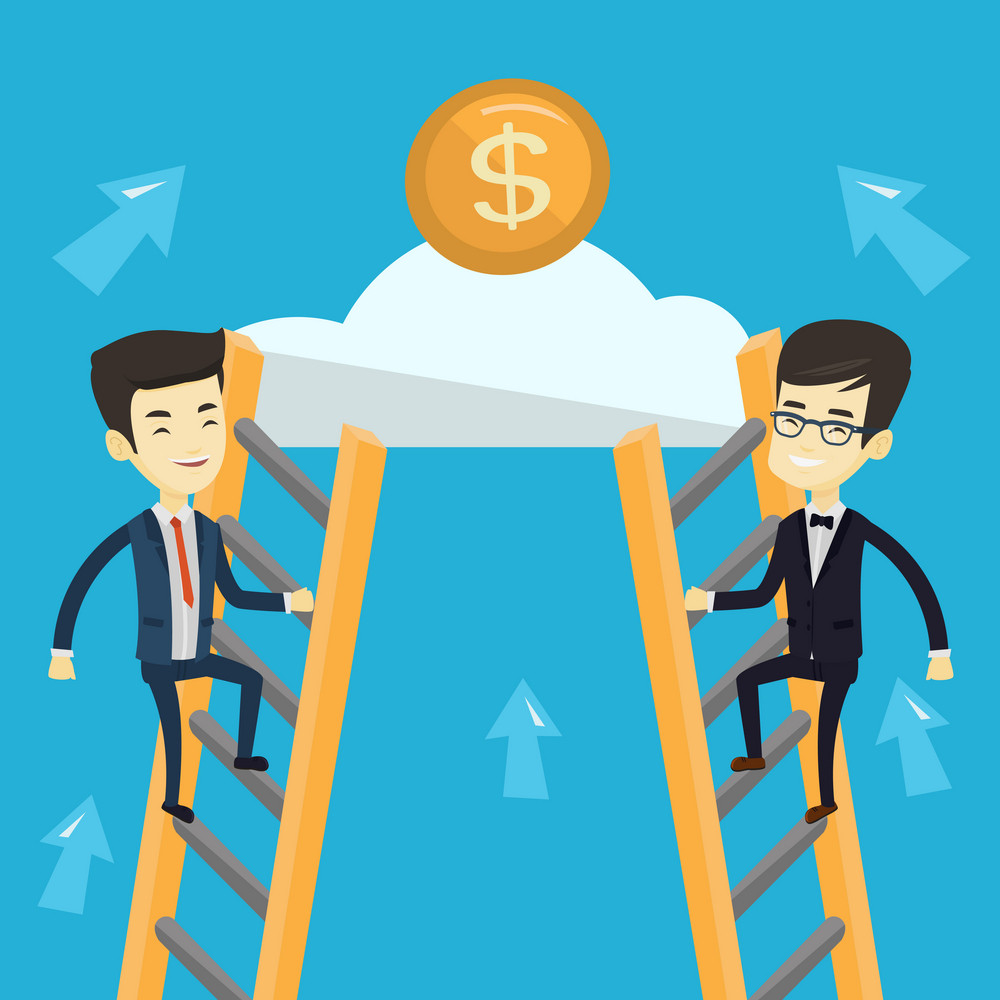 Two young asian business men competing for the money. Two competitive business men climbing the ladder on a cloud. Concept of competition in business. Vector flat design illustration. Square layout.