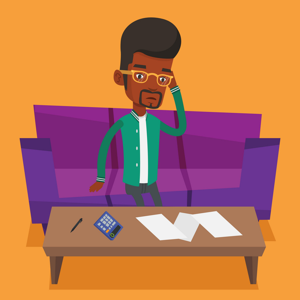Unhappy african man calculating home bills. Sad man sitting on sofa and accounting costs and mortgage for paying home bills. Man analyzing home bills. Vector flat design illustration. Square layout.