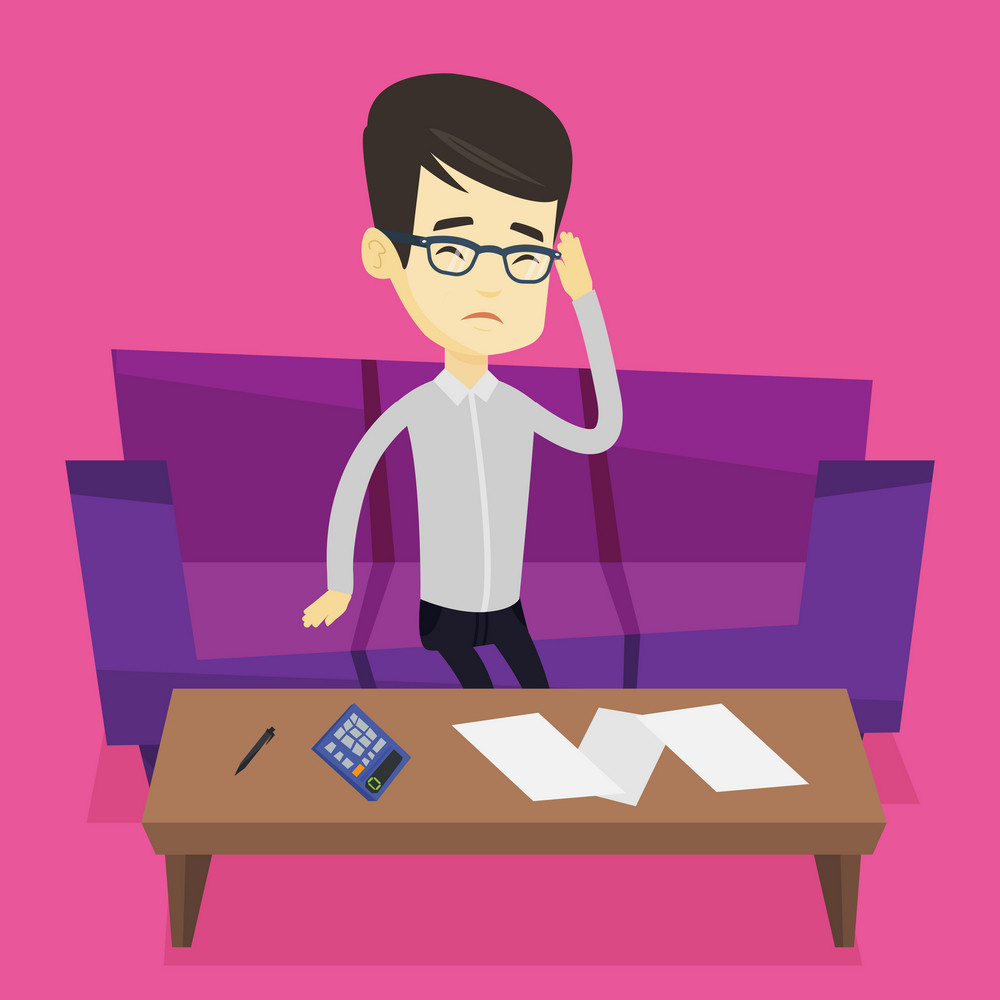 Unhappy asian man calculating home bills. Upset man sitting on sofa and accounting costs and mortgage for paying home bills. Man analyzing home bills. Vector flat design illustration. Square layout.