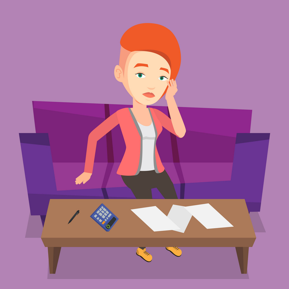Unhappy caucasian woman calculating home bills. Woman sitting on sofa and accounting costs and mortgage for paying home bills. Girl analyzing home bills. Vector flat design illustration. Square layout