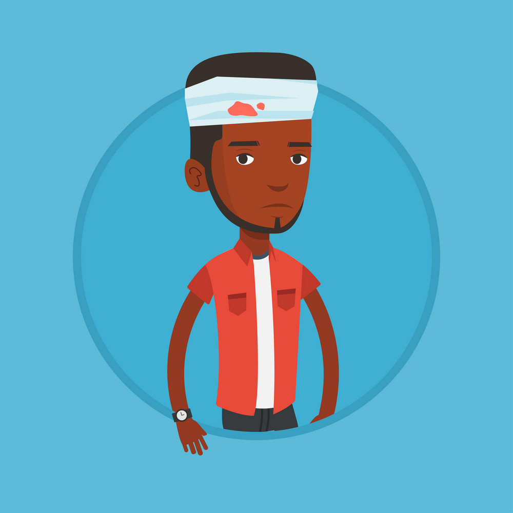 Upset african-american man with bandages over head. Sad injured man with a bandaged head. Young man wounded in head. Vector flat design illustration in the circle isolated on background.