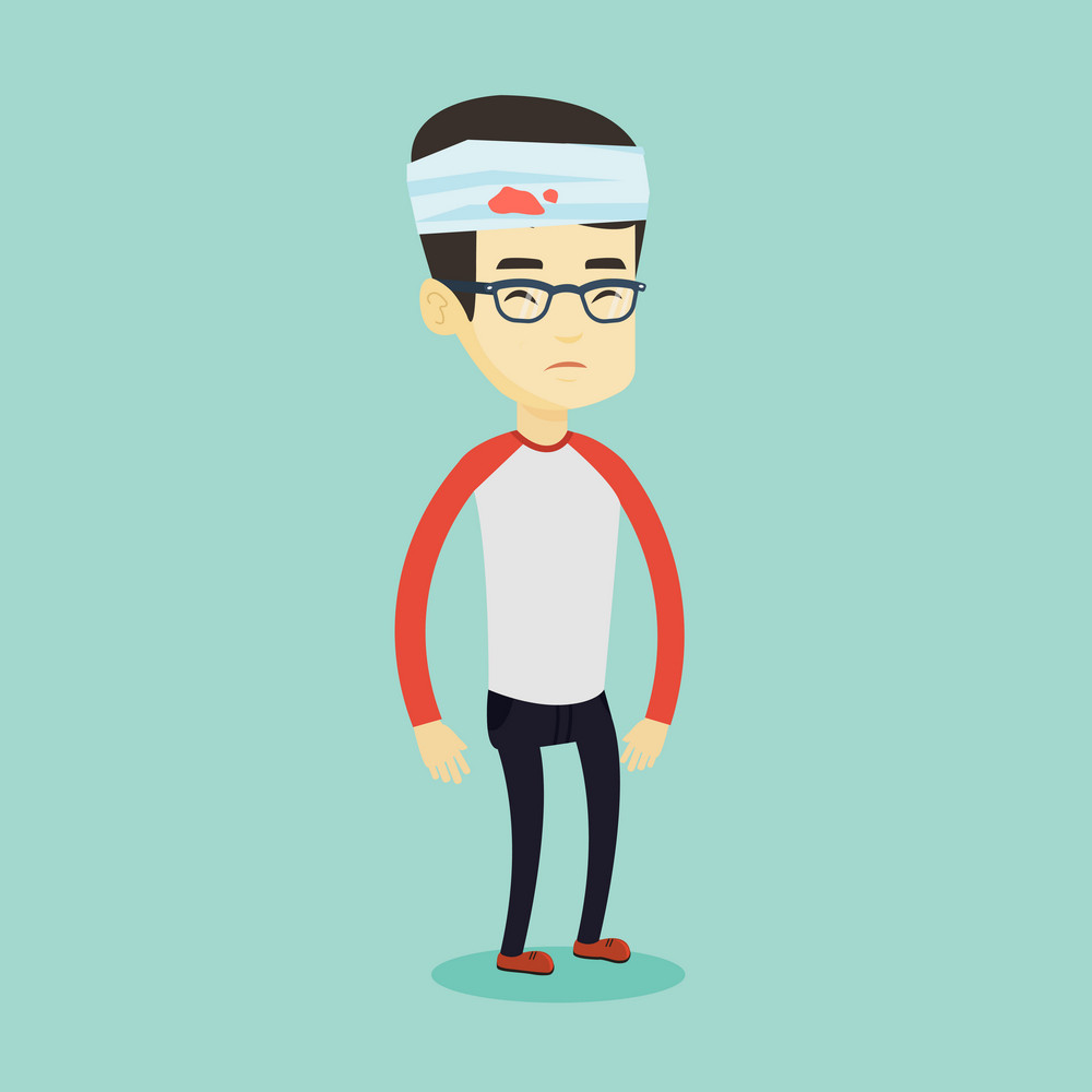 Upset asian man with bandages over his head. Sad injured man with a bandaged head. Full length of young sorrowful man wounded in head. Vector flat design illustration. Square layout.