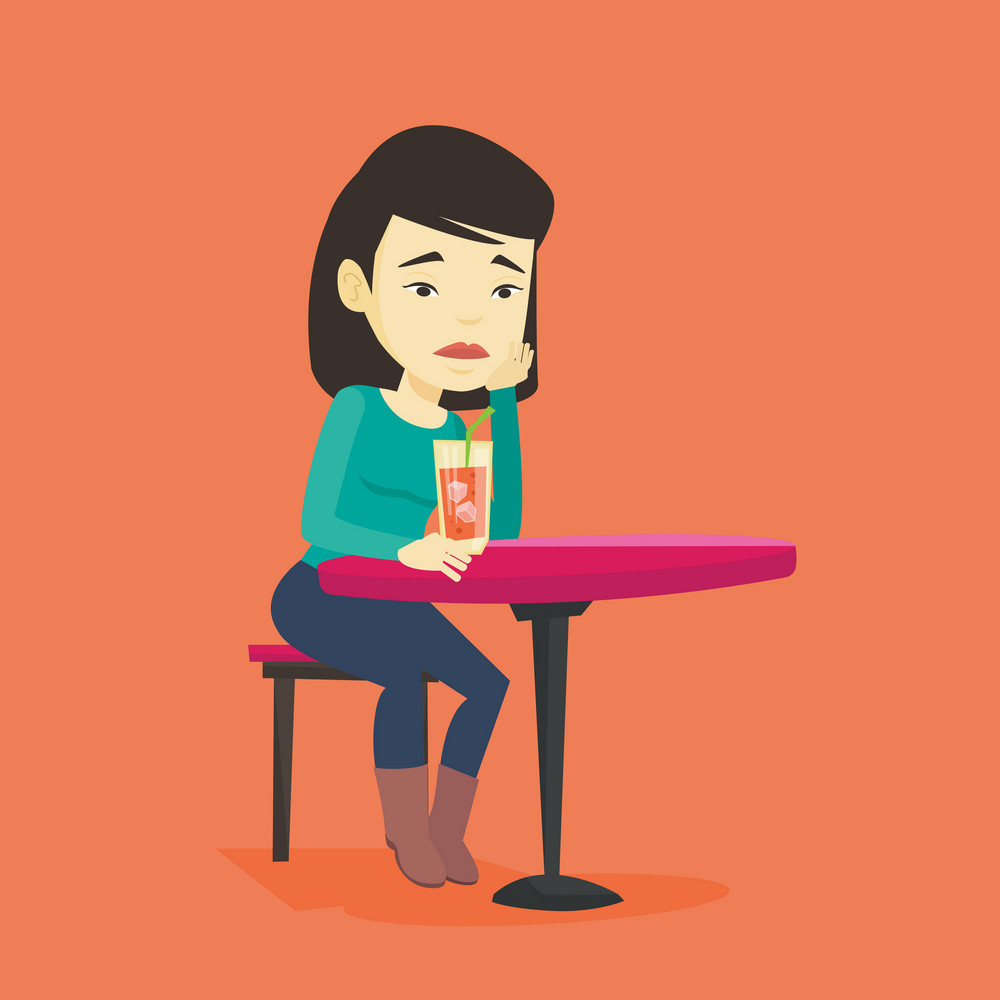 Upset asian woman sitting in bar and drinking cocktail. Young sad woman sitting alone in bar with cocktail on the table. Woman drinking cocktail in bar. Vector flat design illustration. Square layout.
