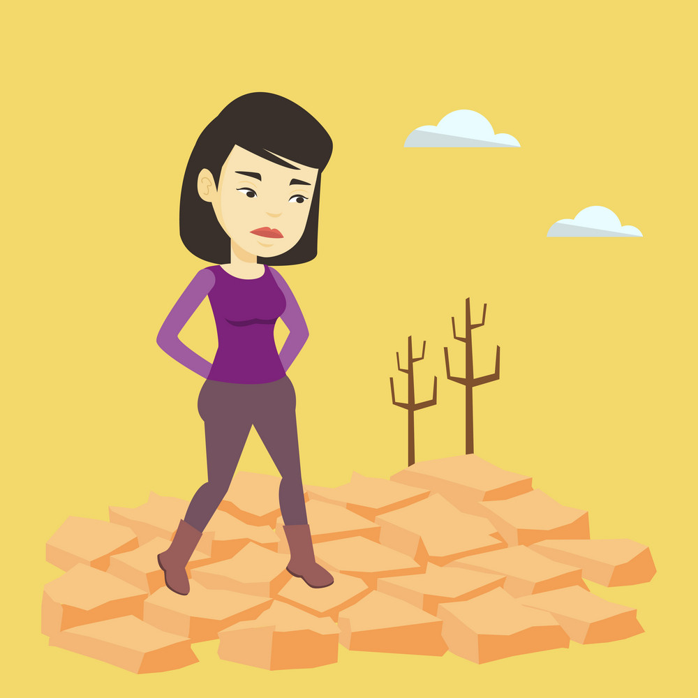 Upset asian woman standing in the desert. Frustrated young woman standing on cracked earth in the desert. Concept of climate change and global warming. Vector flat design illustration. Square layout.