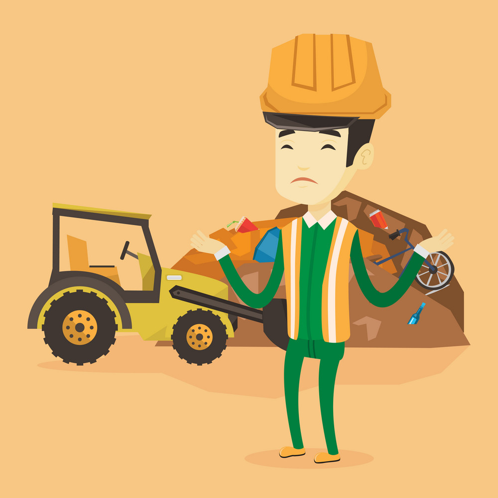 Upset asian worker of rubbish dump. Worker of rubbish dump standing with spread arms. Man standing on the background of rubbish dump and bulldozer. Vector flat design illustration. Square layout.