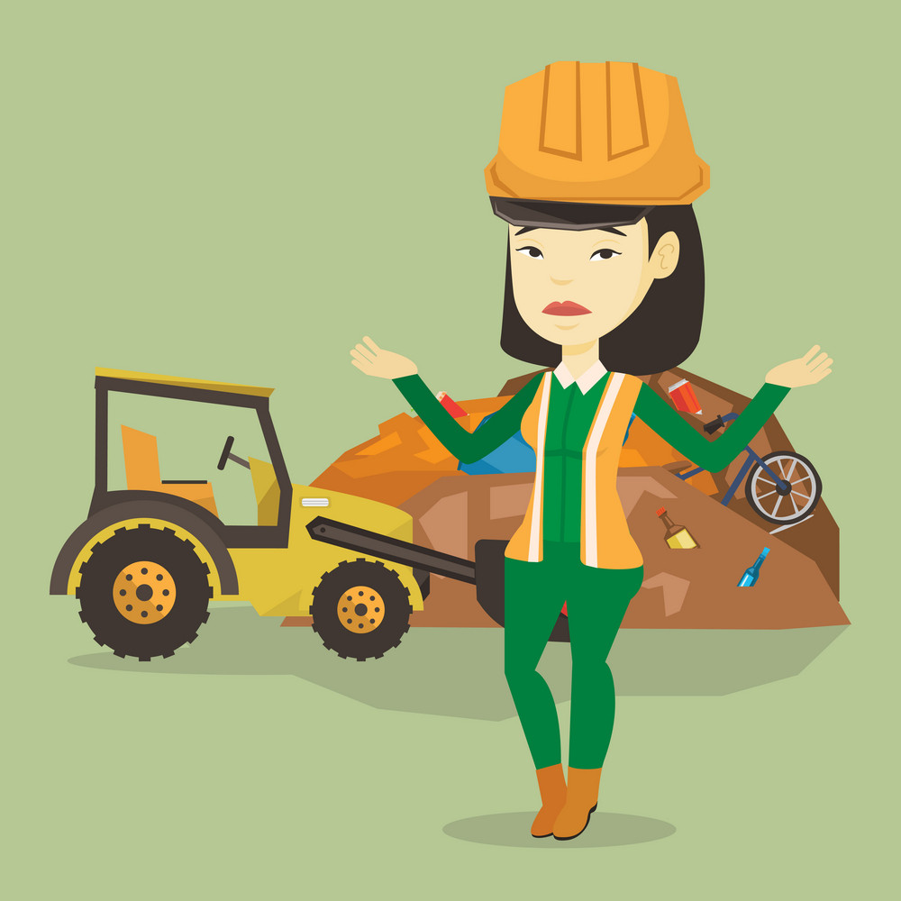 Upset asian worker of rubbish dump. Worker of rubbish dump standing with spread arms. Woman standing on the background of rubbish dump and bulldozer. Vector flat design illustration. Square layout.