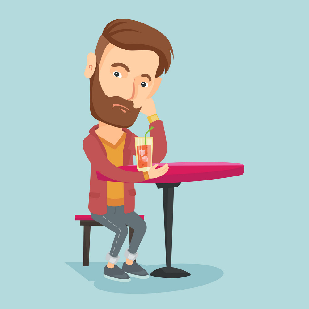 Upset caucasian man sitting in bar and drinking cocktail. Young sad man sitting alone in bar with cocktail on the table. Man drinking cocktail in bar. Vector flat design illustration. Square layout.