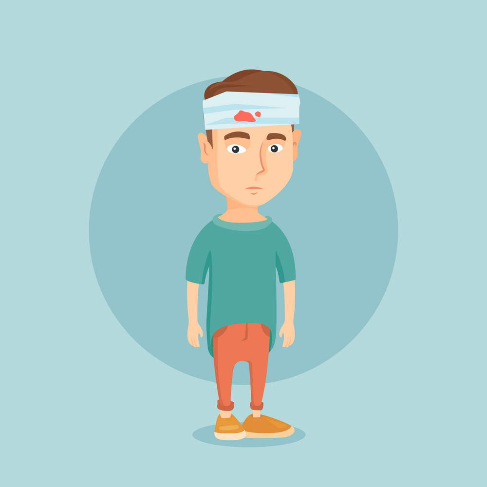 Upset caucasian man with bandages over his head. Sad injured man with a bandaged head. Full length of young man wounded in head. Vector flat design illustration. Square layout.