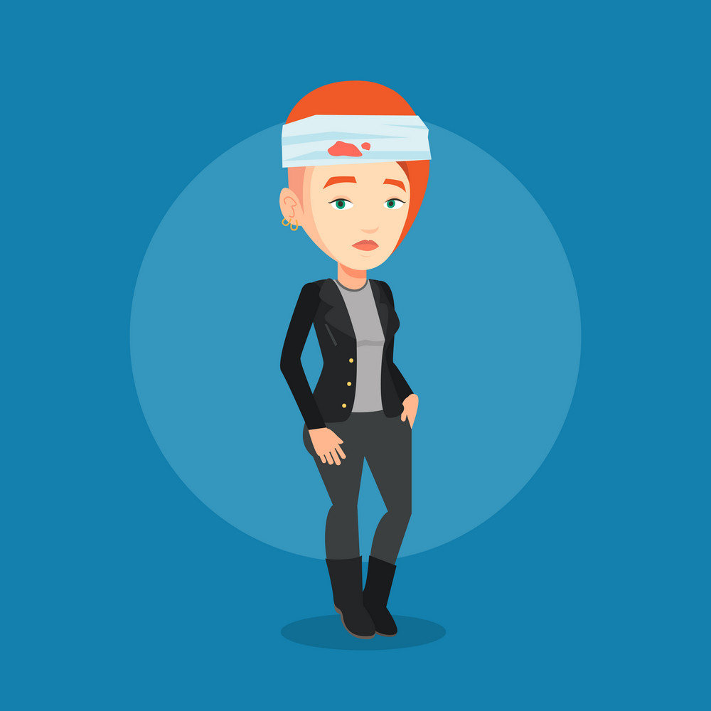 Upset caucasian woman with bandages over her head. Sad injured woman with a bandaged head. Full length of young woman wounded in head. Vector flat design illustration. Square layout.