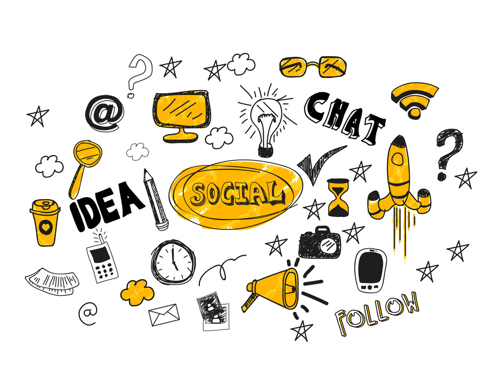 Various social media hand drawn icons on white background.