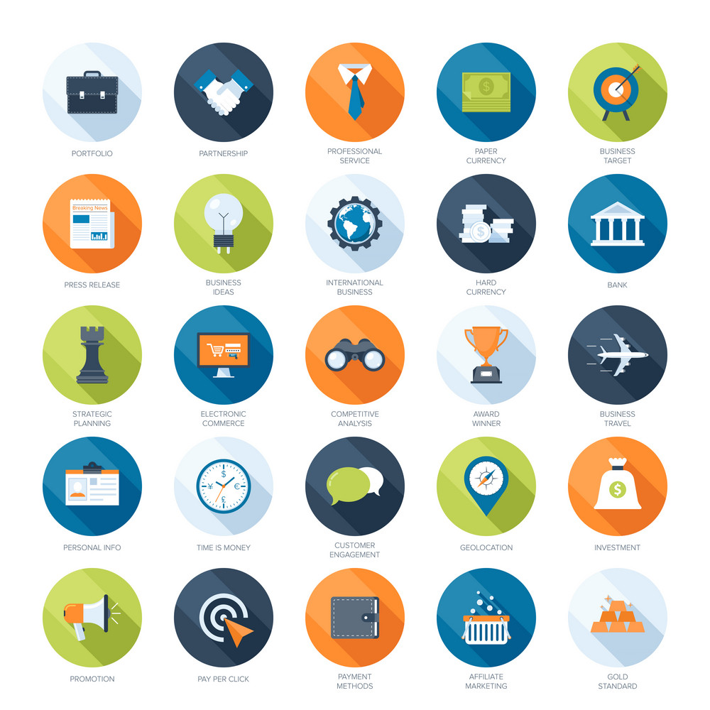 Vector collection of colorful flat business and finance icons with long shadow. Design elements for mobile and web applications.