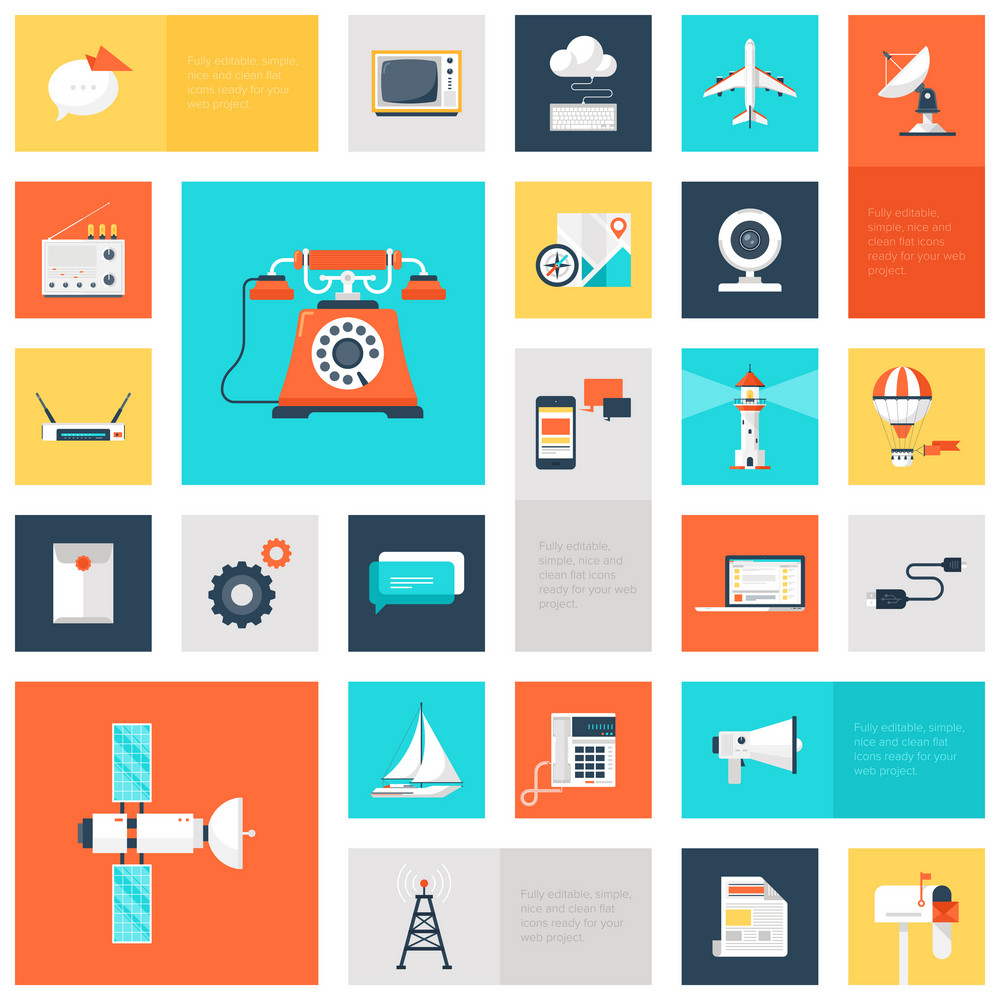 Vector collection of colorful flat communication icons. Design elements for mobile and web applications.
