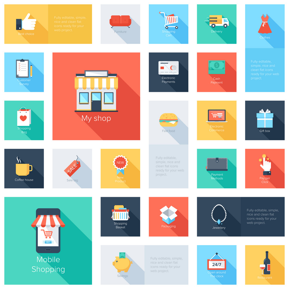 Vector collection of modern flat and colorful shopping icons with long shadow. Design elements for mobile and web applications.