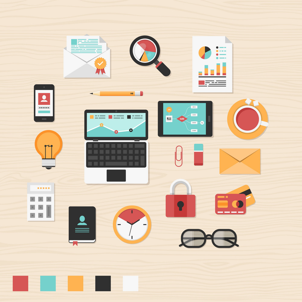 Vector collection of modern trendy flat business and office icons on table.