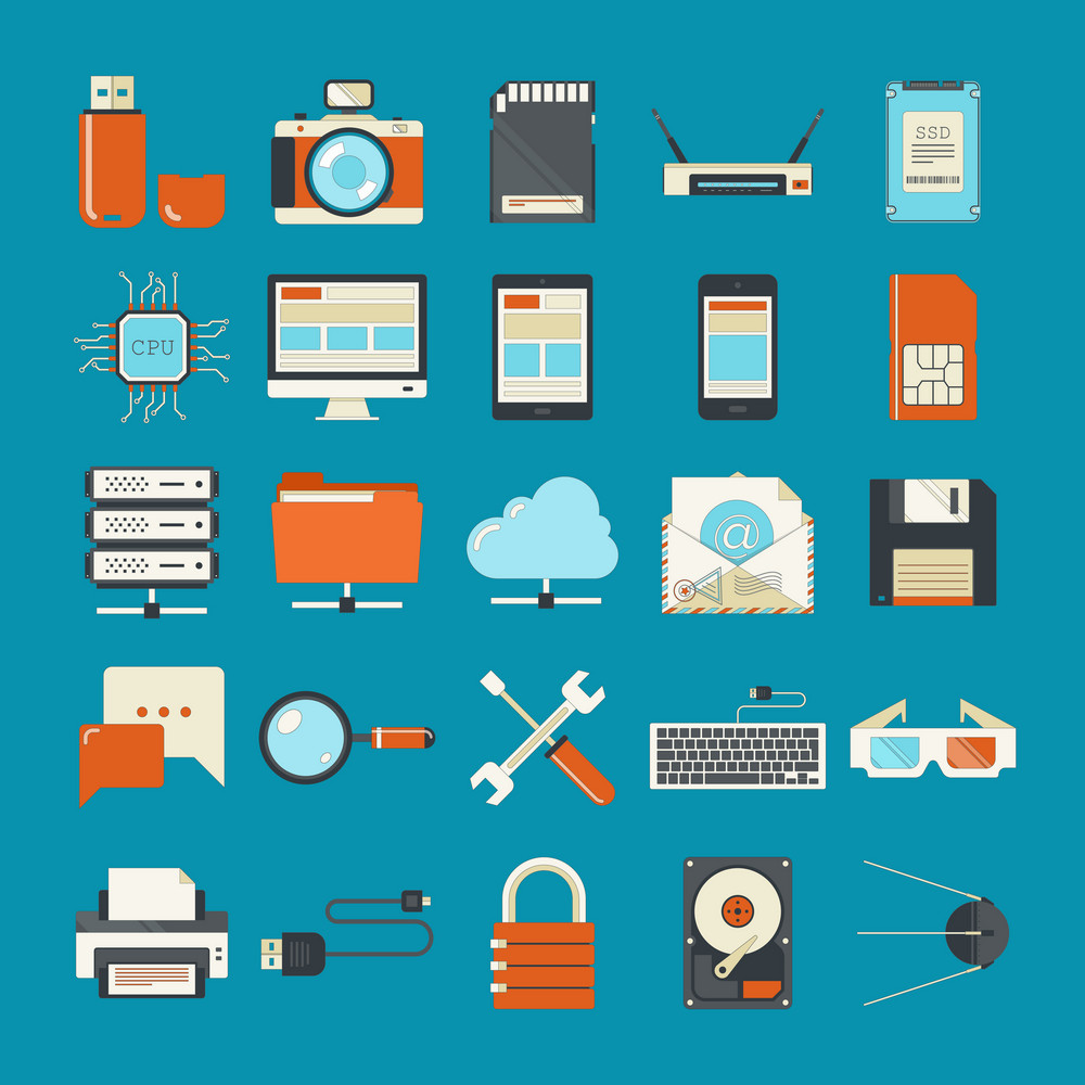Vector collection of retro styled flat technology icons.