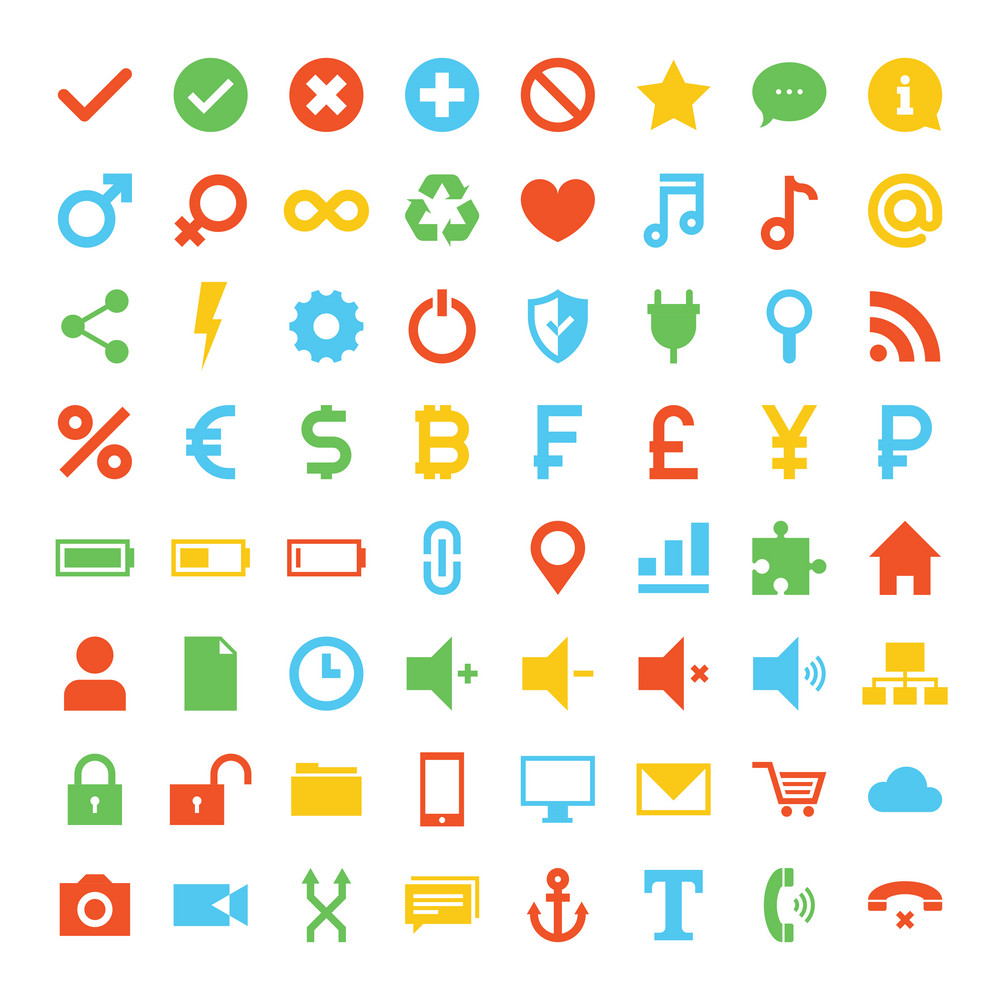 Vector collection of simplistic colorful universal icons.