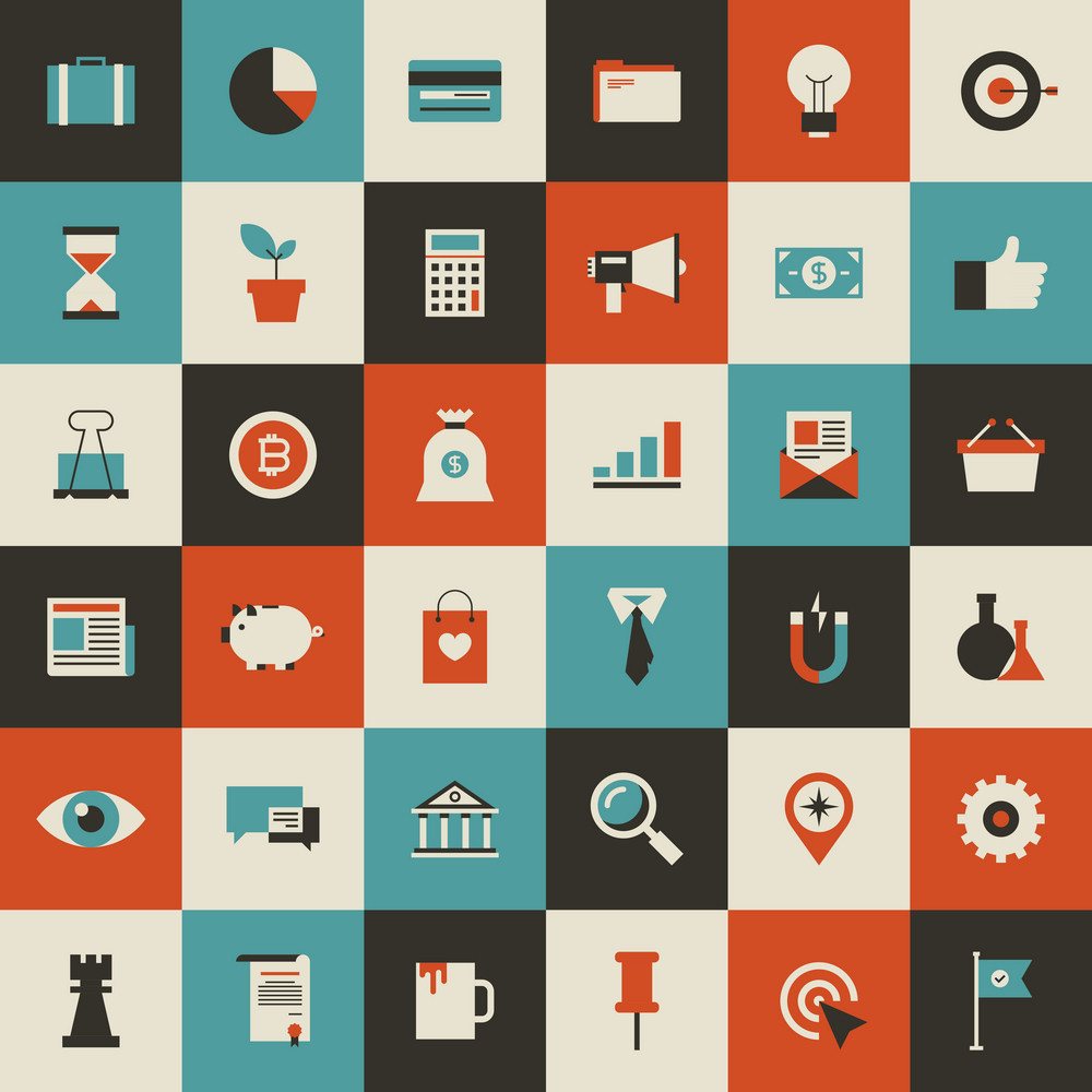 Vector collection of vintage flat business and finance icons. Design elements for mobile and web applications.