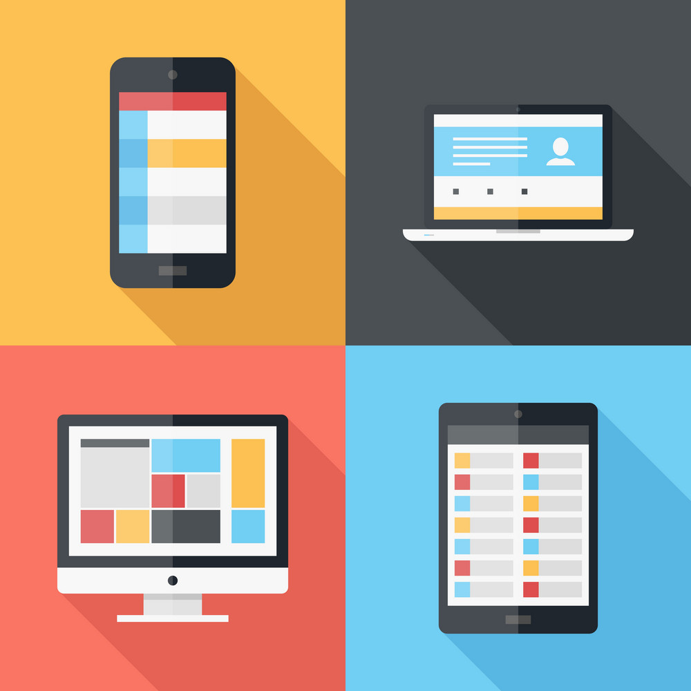 Vector illustration of application menu template on different electronic devices